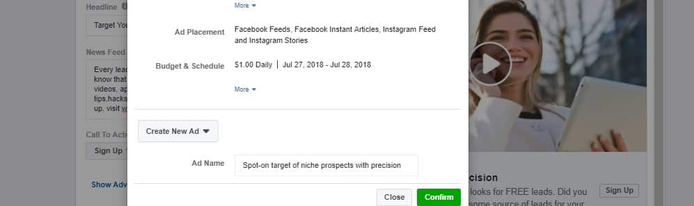 4 Tutorial how to create free facebook leads select Review Before Confirming