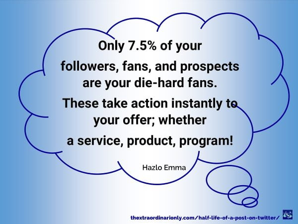 thextraordinarionly feature image about only 7.5% of followers, fans, prospects are your die-hards half-life of a post on Twitter by Hazlo Emma