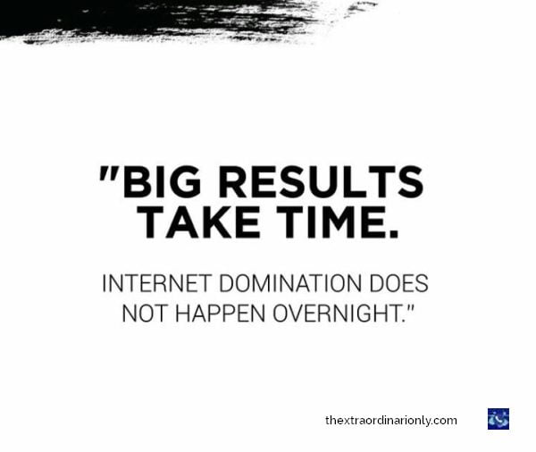 thextraordinarionly big results take time quote, internet domination does not happen overnight